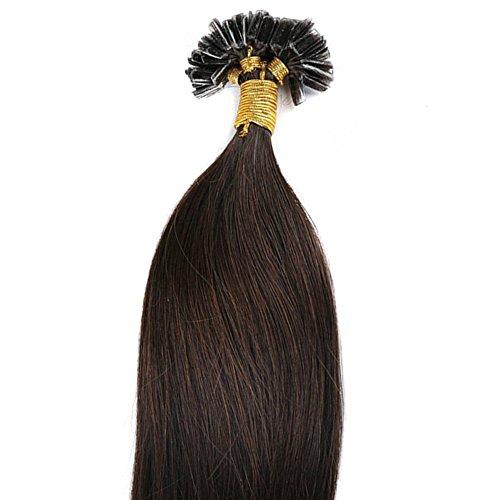 Extensions Echthaar Bondings 100% Remy Echthaar Keratin Bonding 100 Strähnen Haarverlängerung (50cm-50g,#2 Dunkelbraun)