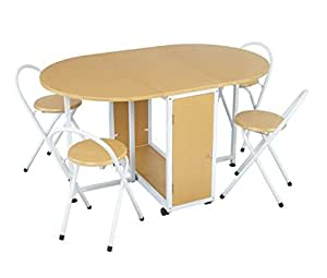 Folding Beech Dining Set - Comes Complete Foldable Table 4 Chairs - Made From Wood Metal