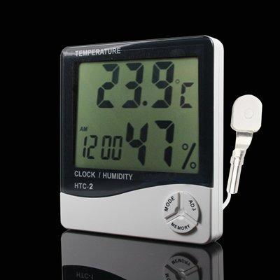 Tangyongjiao Haushalt & Küche 3,8-Zoll-LCD-Digital-Temperatur- und Luftfeuchtigkeitsmesser mit Uhr/Kalender (HTC-2) Thermometer