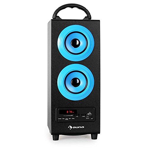 auna Beachboy Altavoz portátil con Bluetooth (sintonizador Radio FM, USB, SD, AUX, MP3, Mando a Distancia, 2 Altavoces Banda Ancha, subwoofer Integrado, batería, Carcasa bassreflex) - Azul