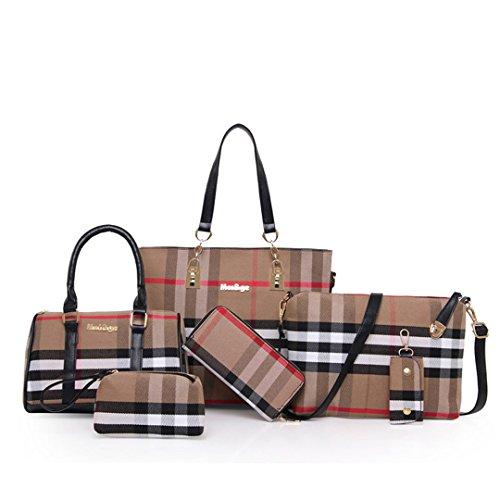 wewo wasserdicht henkeltasche shopper Kariert umhängetasche Damen schultertasche classic Leinwand damentaschen Groß handtaschen Tote 6 Stück set (Schwarz)
