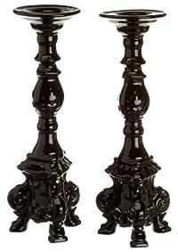 Rosanna Dauphine Set of 2 Black Candlesticks, Gift-boxed