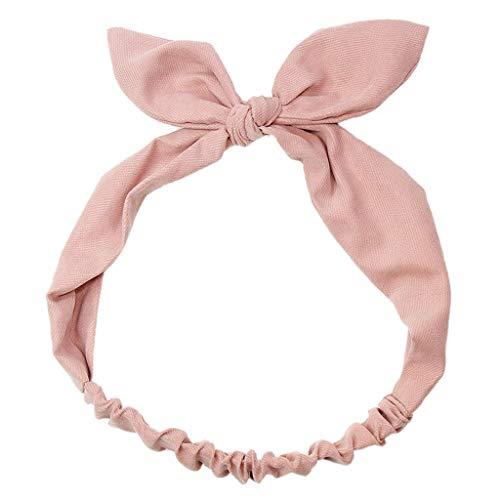SLYlive Hasenohren Baumwolle Haarband Mädchen Stirnband - Pure Pink Medium