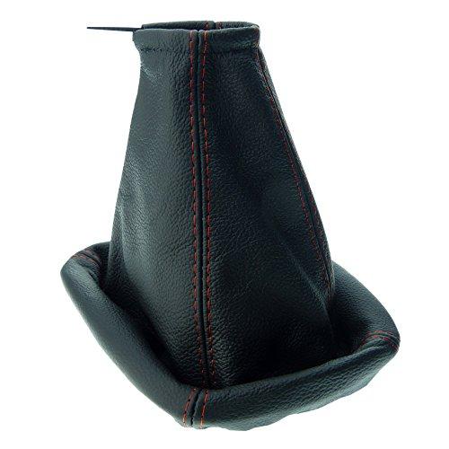 Preisvergleich Produktbild L&P A006-1 Schaltsack Schaltmanschette aus 100% Echtleder in schwarz Naht rot