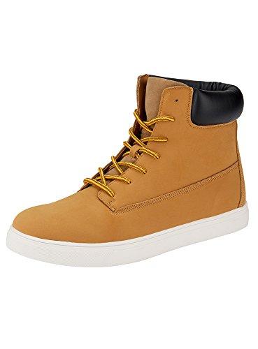 oodji Ultra Herren Kunstleder-Sneakers mit Hoher Sohle, Gelb, 42 EU/8 UK (Geprägte Jeans Elasthan)