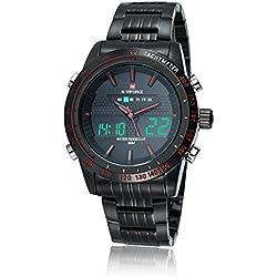 NAVIFORCE Mens Stainless Steel Sports Digital LED Military Quartz Wrist Watch Black Red