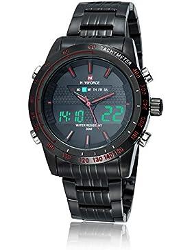 Naviforce Herren-Armbanduhr mit vielen Funktionen, Analog und Digital-Anzeige, Edelstahl-Armband, Rot