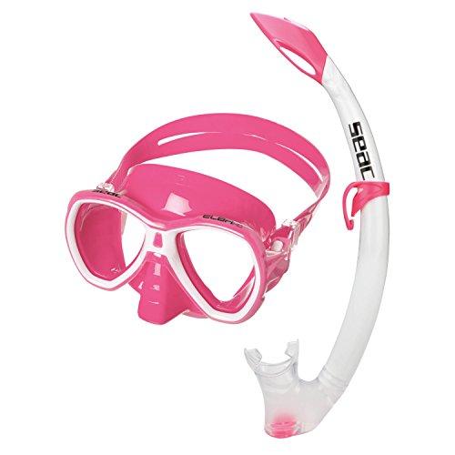 Seac Set Elba MD COLOR, Máscara y tubo y kit de snorkel, niño/mujer, cara pequeña