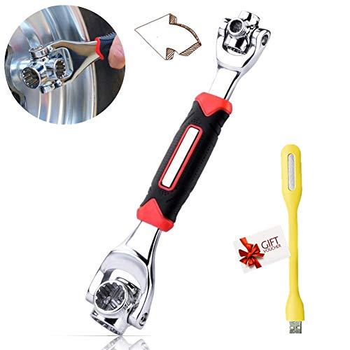 Socket Wrench Universal - 48 in 1 Tools Steckschlüssel-funktioniert mit Spline-Schrauben Torx 360 Grad 6-Kant Möbel Auto Reparatur Any Size Standard (Rot)
