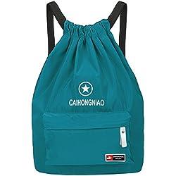 Mochila de Cuerda HiKeep Bolsa Casual Plegable de Tela Mochila Casual para Mujer Hombre Escuela Gimnasio Viaje Camping Senderismo , Color Azul