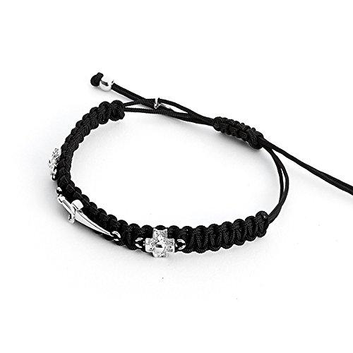 cesare-paciotti-jewels-bracelet-double-cross-unisex-black-jpbr1138b
