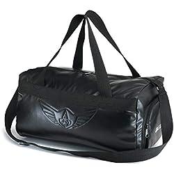 AUXTER Blacky Premium Leatherette Gym Bag with Shoe Pocket (Emboss Logo)
