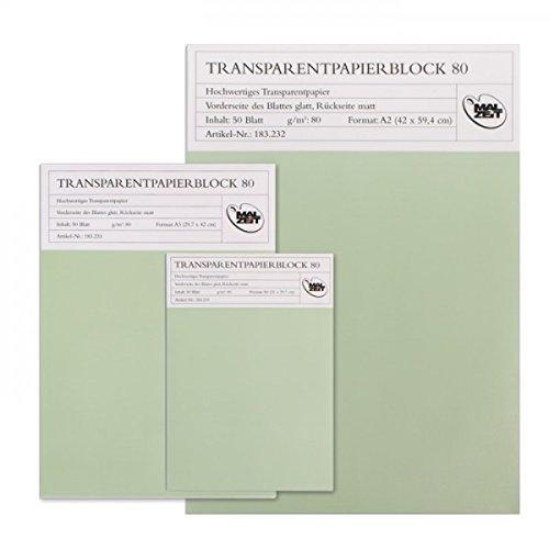 183232 Transparentpapier Block   50Blatt   80gr.   DIN A2 (Pistole Block)