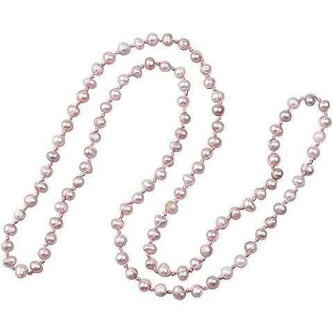 KELITCH Natural de Agua Dulce Perla Collar Anudado Cuerda Cadena