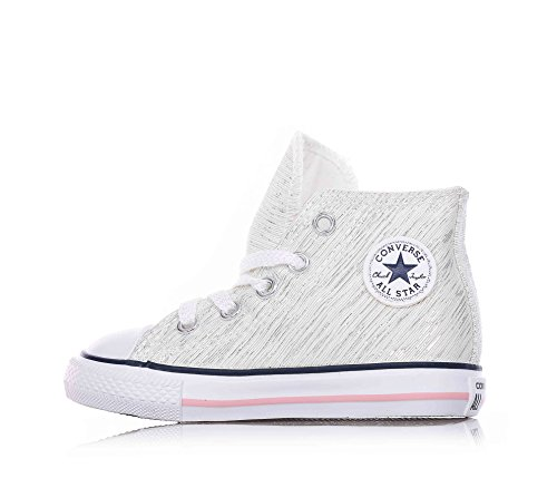 752691C CONVERSE blancs chaussures de bébé blanc tous mi zip étoiles élevés White/Denim