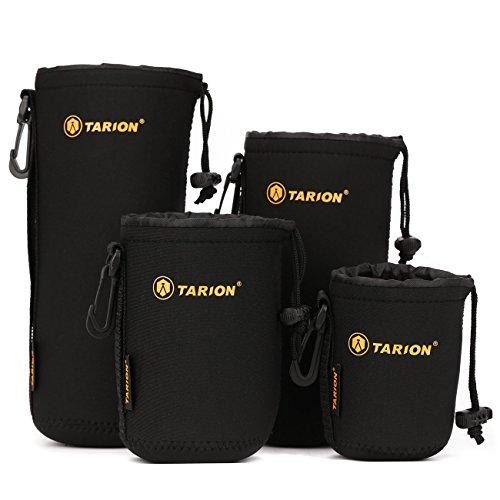 TARION® Objektiv-Taschen Beutel Set 4 Größen Regenfest aus Neopren mit Karabinerhaken und Gürtelschlaufe