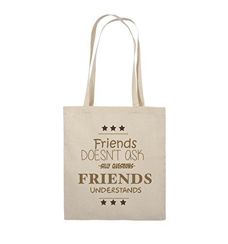 Comedy Bags - Friends doesn't ask silly questions friends understands - Jutebeutel - lange Henkel - 38x42cm - Farbe: Schwarz / Weiss-Neongrün Natural / Hellbraun-Dunkelbraun