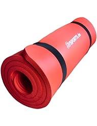 ScSPORTS 10000531 - Estera de gimnasia con correas elásticas, 190 x 100 x 1.5 cm, color rojo