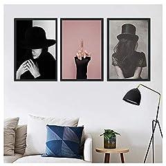 Idea Regalo - NR Pittura su Tela Donna Sexy Bella Ragazza Carattere Dito Medio Poster Arte della Parete Pittura Immagini-50x70cm Senza Cornice