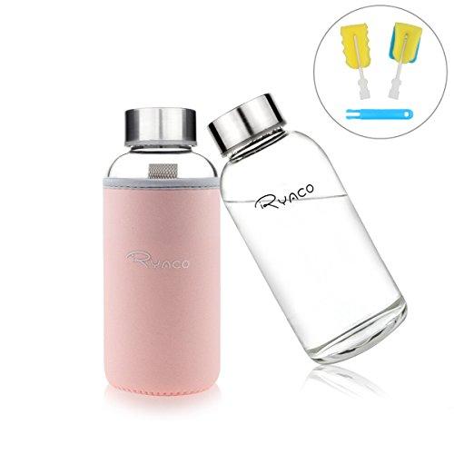 Ryaco Botella de Agua Cristal 360ml, Botella de Agua Reutilizable 12 o