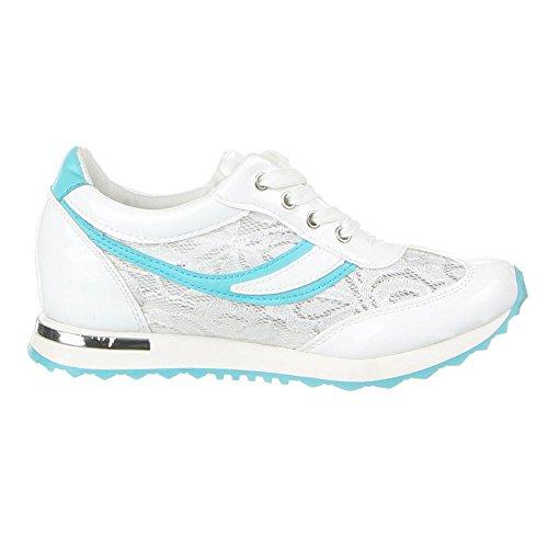 Damen Schuhe FREIZEITSCHUHE SCHNÜRER TURNSCHUHE SNEAKERS Farben: Schwarz Blau Weiß Größen: 36 37 38 39 40 41 Weiß