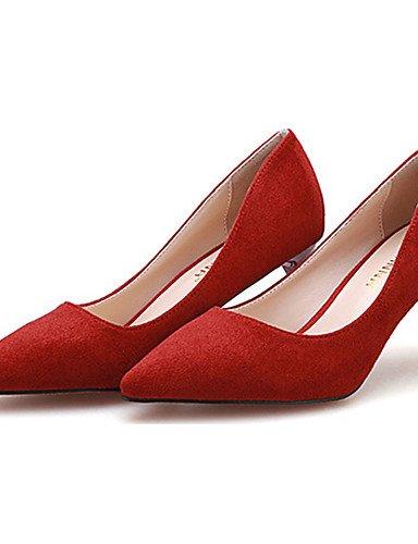 WSS 2016 Chaussures Femme-Décontracté-Noir / Bleu / Rouge / Bordeaux / Kaki-Talon Aiguille-Talons-Talons-Laine synthétique khaki-us6 / eu36 / uk4 / cn36