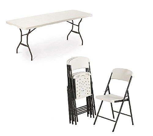 Lifetime Kunststoff Bierzeltgarnitur, Gartenmöbel Set bestehend aus Tisch und 6 Stühlen // Festzeltgarnitur für 6 Personen
