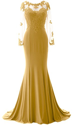 MACloth Elegant Mermaid Long Sleeve Prom Dress Jersey Wedding Party Formal Gown gold