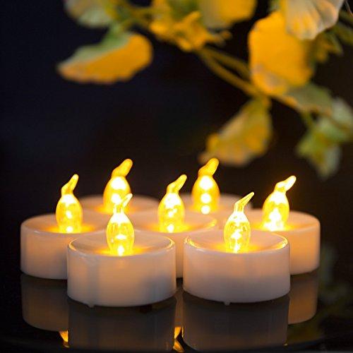fourHeart LED Kerzen D3.7 x H4.2CM (24er Set) Teelichter Flammenlose Fest Licht Beleuchtung mit Flackereffekt batteriebetrieben Kerzen Stimmungslichter Leuchten - Gelb warm, Das beste Geschenk zum Valentinstag