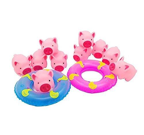 UChic 12 Teile/paket Nette Gummi Rosa Schwein Baby Badespielzeug für Babys mit Schwimmwesten Für Baby Dusche Beitritt
