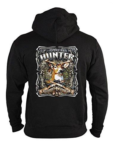 rohuf Design Motiv Zip-Hoodie - American Hunter - Kapuzensweater mit Reißverschluss als Geschenk Jäger Schützen Amerika Sweatshirt, Größe:L Hunter Zip Hoodie