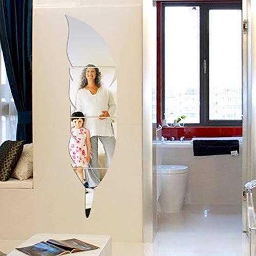 Mode 3D Feder Form Spiegel Aufkleber DIY Wandaufkleber Startseite Wandbild Dekoration