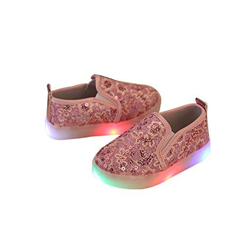 TAIYCYXGAN Jungen Mädchen Led Schuhe Turnschuhe Kinder Paillette leuchtende Atmungsaktive Schuhe mit flachen Frühling-Sommer Rosa