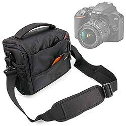 DURAGADGET Sacoche (Noir/Orange) pour Canon EOS 4000D, EOS 2000D, Nikon D3500, Fujifilm Instax SQ6 Appareil Photo Reflex/argentique et Leurs Accessoires - Garantie 2 Ans