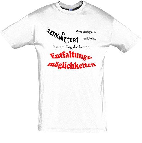 T-Shirt Schlaf-Shirt Wer morgens zerknittert aufsteht, hat am Tag die besten Entfaltungsmöglichkeiten (XL, weiß)