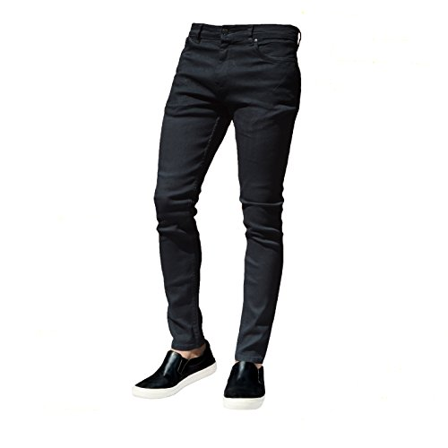 Mens Skinny Slim Fit Stretchable Jeans CLASSY DUDE Denim Cotton Straight Leg All Waist Sizes Available (Waist 36 x 34L, Black)