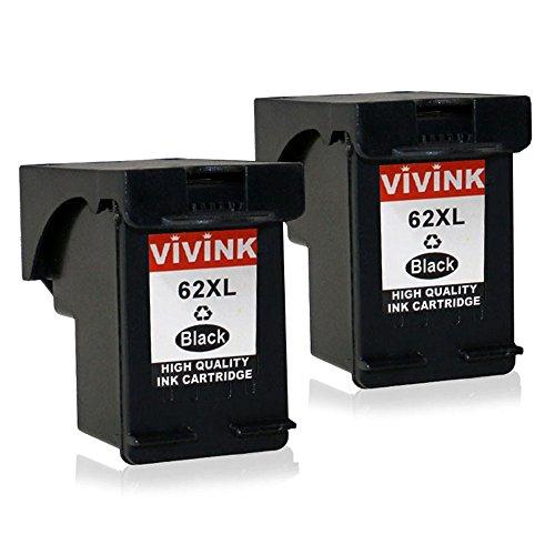 itet für HP 62 62 XL Tintenpatrone hohe Kompatibel für HP Envy 5540 5640 7640, HP OfficeJet 5740 200 5742, HP Color LaserJet CP4025dn CP4025n Drucker(2 Schwarz) ()