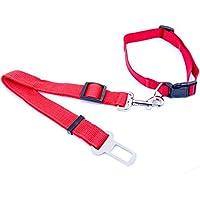 Lantelme 5828 Collare e adattatore di cane per le cinture di sicurezza auto nel colore rosso set