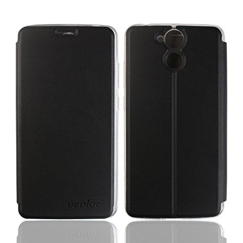 Frlife Blackview P2 Hülle Schwarz, Bookstyle Handyhülle Premium PU-Leder klapptasche Case Brieftasche Etui Schutz Hülle für Blackview P2