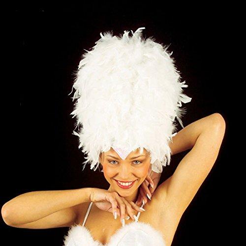 NET TOYS Weißer Federhut Rio Federkopfschmuck Hut mit Federn Feder Kopfschmuck Brasilien Fasching Karneval (Rio Karneval Kostüm)