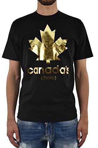 DSQUARED2 Uomo T-SHIRT Nuova Hetero Guy Fit Canada's Nera - Taglia: L