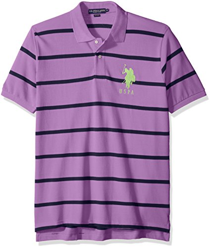 U.S. Polo Assn. Men's Narrow Striped Pique Shirt, Misty Purple, XX-Large (Striped 20 Shirt Pique)