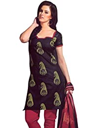 Lavis Women's Black & Maroon Pure Cotton Dress Material
