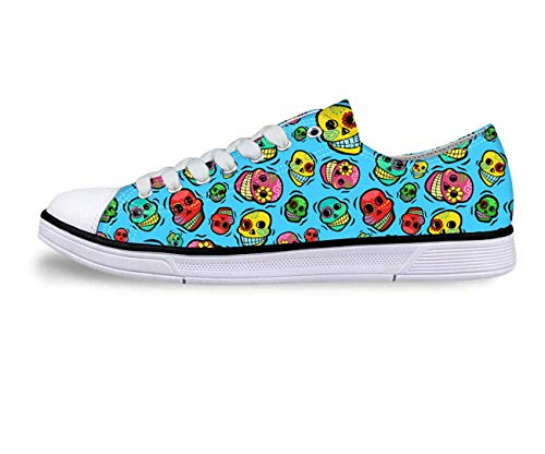 Adorable Women Girls Low Top Trainers Canvas Running Sneakers Pumps Lightweight Blue C3943AP. Women's US 5 \u002F EU 35 - Guns Roses And Tab