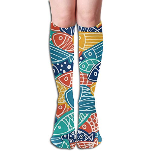Gped Kniestrümpfe,Socken,Colorful Fish Pattern Carp Knee High Socks Stockings For Men & - Baby Clown Fish Kostüm