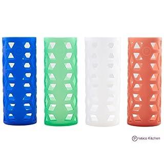 18 oz Glass Bottle Silicone Sleeves for Pratico Kitchen, Epica, Aquasana, Estillo, & Similar Glass Bottles - 4 Pack by Pratico Kitchen
