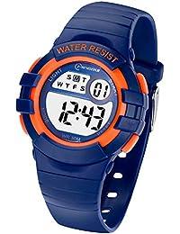 Reloj Niños Digital,Reloj de Pulsera Niña Multifunción con Pantalla LED Impermeable para Niños, Niñas Reloj Infantil Aprendizaje para Niños 4-15 Años (Azul Oscuro)