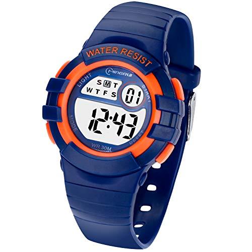 Reloj Digital Deportivo para Niños, Reloj de Pulsera Niña Multifunción con Pantalla LED Impermeable para Niños, Niñas Reloj Infantil Aprendizaje para Niños 4-15 Años (Azul Oscuro)
