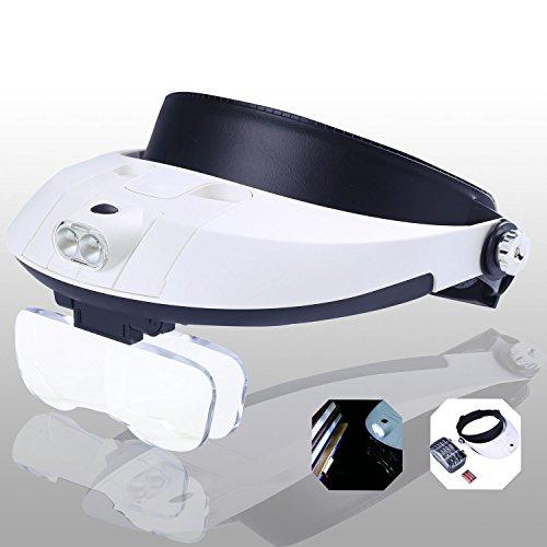 Yoctosun, fascia da testa con lenti di ingrandimento e luci LED, con ingrandimenti da 1 x a 3,5 x grazie a 6 lenti staccabili; adatta a lettura, gioielleria, riparazione orologi, elettronica