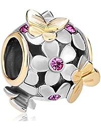 Uniqueen, Charm-Anhänger mit Kristall, Schmetterling-Design, für Pandora-Armband